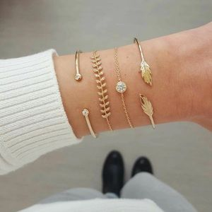 4 piece gold leaf crystal minimalist bracelet set